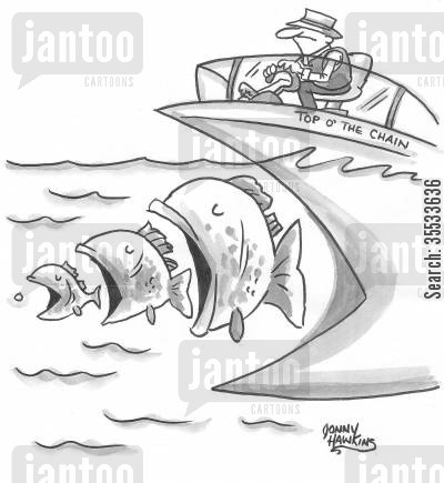 ocean life cartoon humor: Big Mouthed Boat about to swallow fish swallowing fish and so on.