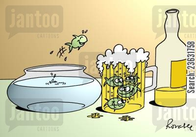 bitter cartoon humor: Fish swimming in a pint of beer.