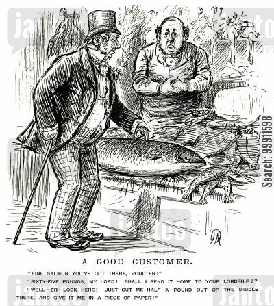 fishmongers cartoon humor: Large Salmon in a fishmonger's