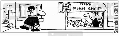 tinned fish cartoon humor: 'Fred's fish shop.'