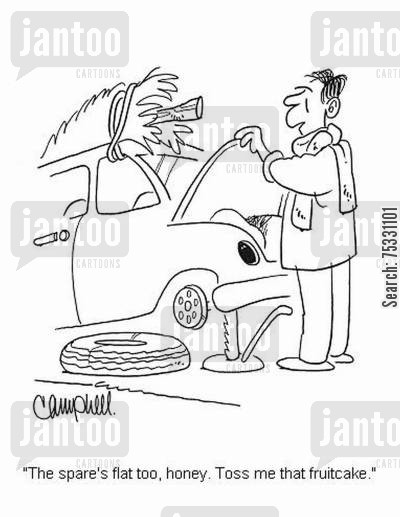 flat tyres cartoon humor: 'The spare's flat too, honey. Toss me that fruitcake.'
