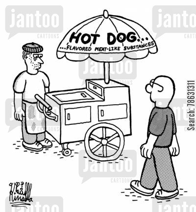 ingredients cartoon humor: Hot Dog... Flavored meat-like substances