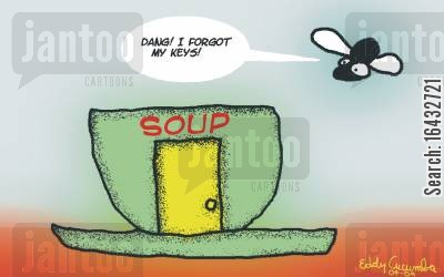 lock out cartoon humor: The art of Eddy Cucumba: fly and soup cup.