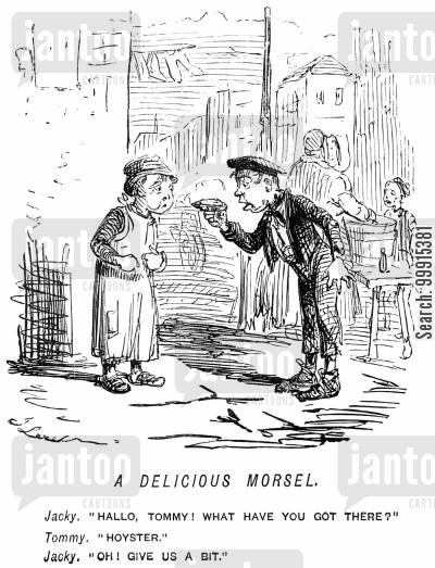 innocent cartoon humor: A boy wanting another boy to share an oyster