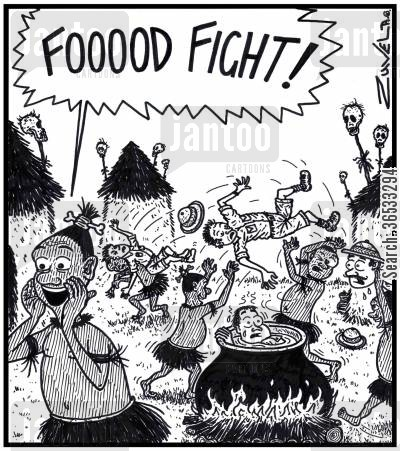mess about cartoon humor: Cannibal: 'FOOOOD FIGHT!