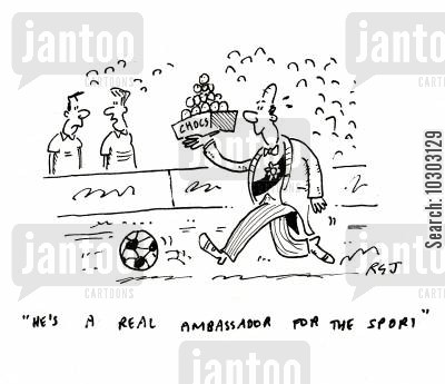 football field cartoon humor: 'He's a real ambassador for the sport.'