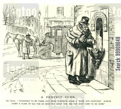 lower classes cartoon humor: A Man Gets A Drink From A Public Fountain.
