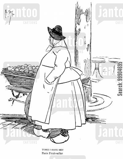 clog cartoon humor: Paris Fruit-seller.