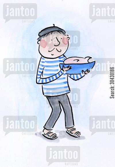 frenchman cartoon humor: French man holding a dish.