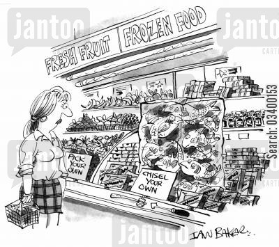 fishmongers cartoon humor: Frozen Food - Pick Your Own