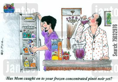 juice cartoon humor: 'Has Mom caught on to your frozen concentrated pinot noir yet?'