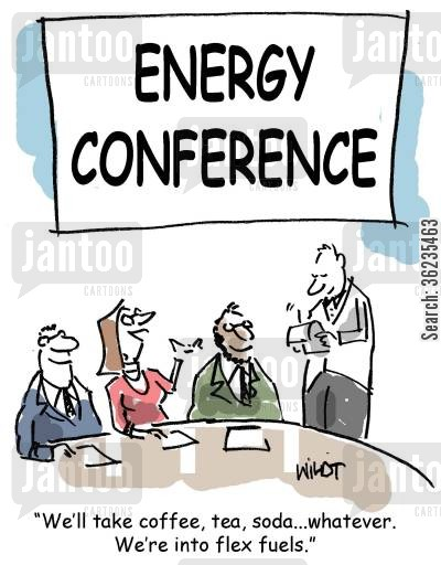reusable energy cartoon humor: We'll take coffee, tea, soda, whatever. We're into flex fuels.