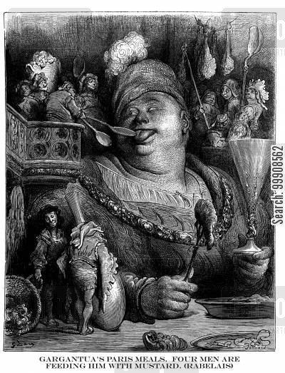 greedy cartoon humor: Gargantua's Paris Meals. Four Men are Feeding Him with Mustard (Rabelais).