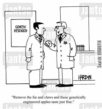 geneticall cartoon humor: 'Remove the fur and claws and these genetically engineered apples taste just fine.'