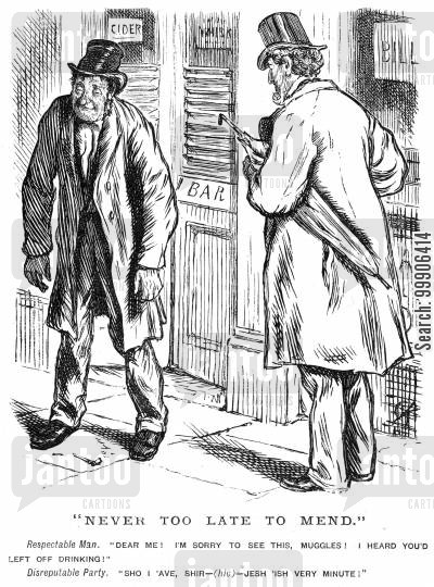 tavern cartoon humor: A gentleman coming across his supposedly teetotal friend.