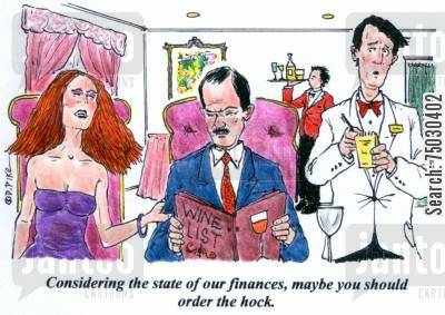 tuxedo cartoon humor: 'Considering the state of our finances, maybe you should order the hock.'