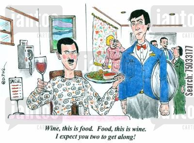 handshakes cartoon humor: 'Wine, this is food. Food, this is wine. I expect you two to get along!'