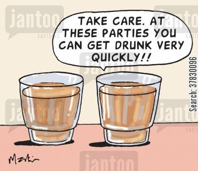 binge drinker cartoon humor: Take care. At these parties you can get drunk very quickly.