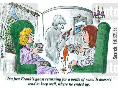 storage cartoon humor: 'It's just Frank's ghost returning for a bottle of wine. It doesn't tend to keep well, where he ended up.'
