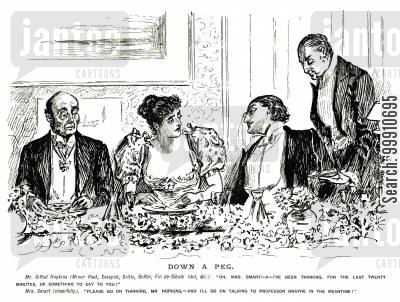 entertaining cartoon humor: Man talking to a woman at a dinner party