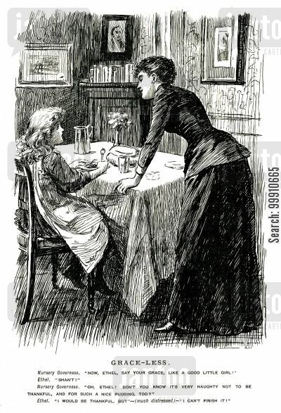 governess cartoon humor: Girl refusing to say grace