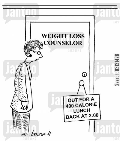 calorie cartoon humor: Weight Loss Counselor, out for a 400 calorie lunch.
