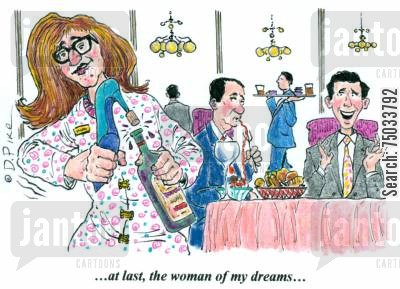 true love cartoon humor: '...at last, the woman of my dreams...'