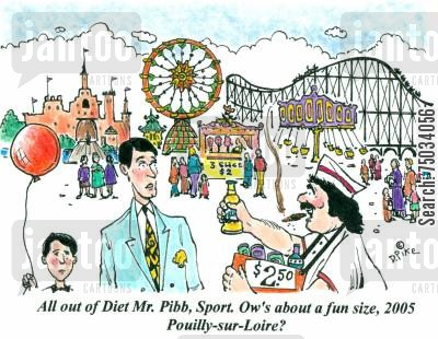 roller coaster cartoon humor: 'All out of Diet Mr. Pibb, Sport. Ow's about a fun size, 2005 Pouilly-sur-Loire?'