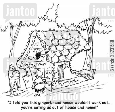 house and home cartoon humor: I told you this gingerbread house wouldn't work out...you're eating us out of house and home!