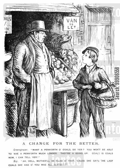 baskets cartoon humor: A boy purchasing coal from a greengrocer.