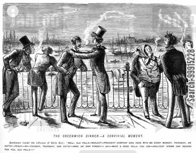 river thames cartoon humor: The Greenwich dinner - a convivial moment