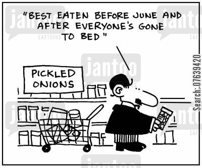groceries cartoon humor: 'Best eaten before June and everyone's gone to bed.'