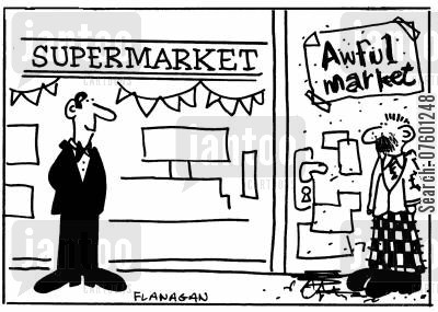 shopper cartoon humor: SupermarketAwful Market.