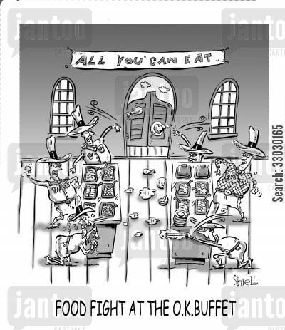 all you can eat buffet cartoon humor: Food Fight At The O.K. Buffet.