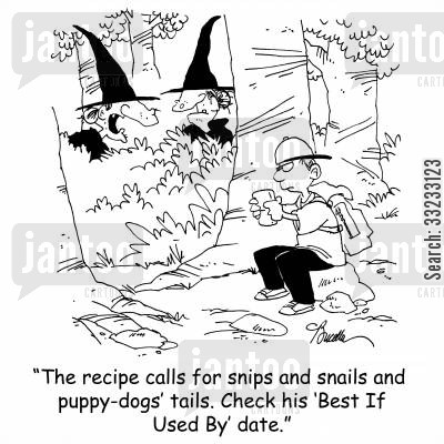 slugs and snails cartoon humor: 'The recipe calls for snips and snails and puppy-dogs' tails. Check his 'Best If Used By' date.'
