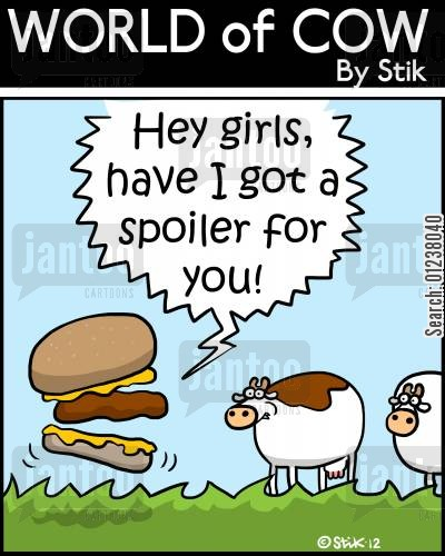 barnyards cartoon humor: 'Hey girls, have I got a spoiler for you!'