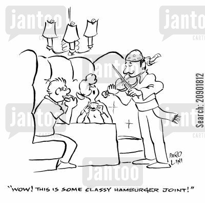 hamburger joint cartoon humor: 'Wow! This is some classy hamburger joint!'
