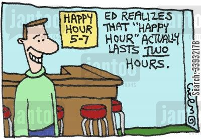 cheap drink cartoon humor: Ed realizes that 'Happy Hour' actually lasts two hours.