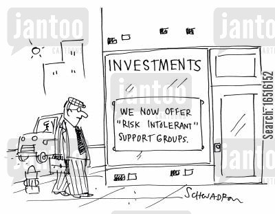 risk intolerant cartoon humor: Investments: We now offer 'risk intolerant' support groups.'