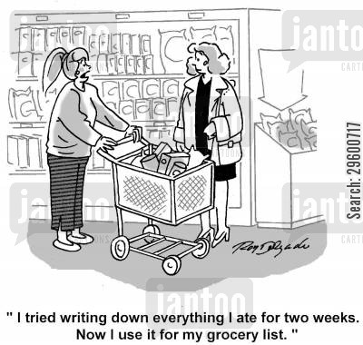 grocery cartoon humor: 'I tried writing down everything I ate for two weeks. Now I use it for my grocery list.'