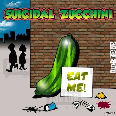 suicide attempts cartoon humor: Suicidal Zucchini