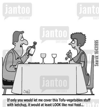 fancy food cartoon humor: 'If only you would let me cover this Tofu-vegetables stuff with ketchup, it would at least LOOK like real food...'