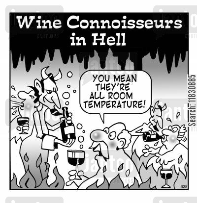 the devil cartoon humor: Wine conniosseurs in hell.