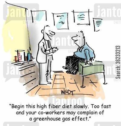 high-fibre diet cartoon humor: Begin this high fiber diet slowly. Too fast and your co-workers may complain of a greenhouse effect.