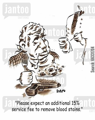 hit men cartoon humor: 'Please expect an additional 15 service fee to remove blood stains.'