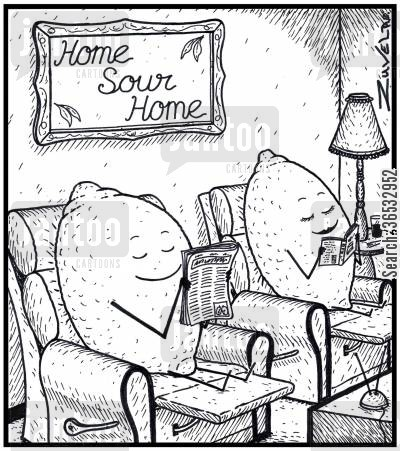 sweet and sour cartoon humor: Two lemons enjoying some reading time together in their 'Home Sour Home'.