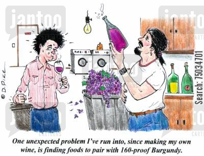 home brew cartoon humor: 'One unexpected problem I've run into, since making my own wine, is finding foods to pair with 160-proof Burgundy.'