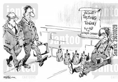 on the streets cartoon humor: Street beggar with paper-bagged wine and sign reading 'Wine Tasting Today - $5.00'