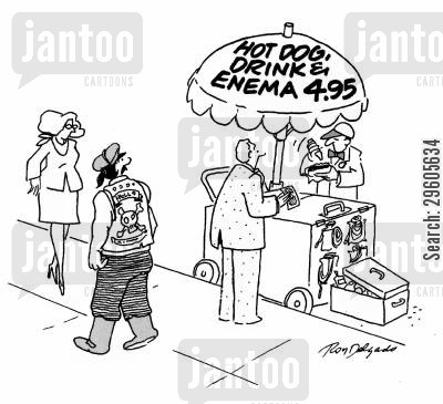 package cartoon humor: Hot dog, drink & enema - $4.95.'