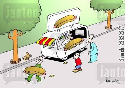 hotdog vendors cartoon humor: Big hotdog.